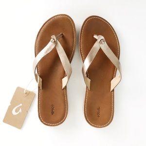 NEW OluKai Nohie Leather Sandal FLAW Size 9
